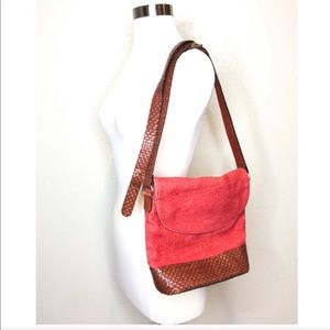 Talbots Boho Leather Linen Bag